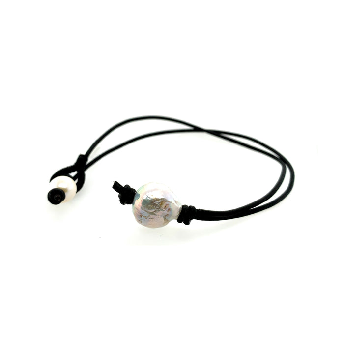 White Fresh Water Pearl Leather Cord Necklace
