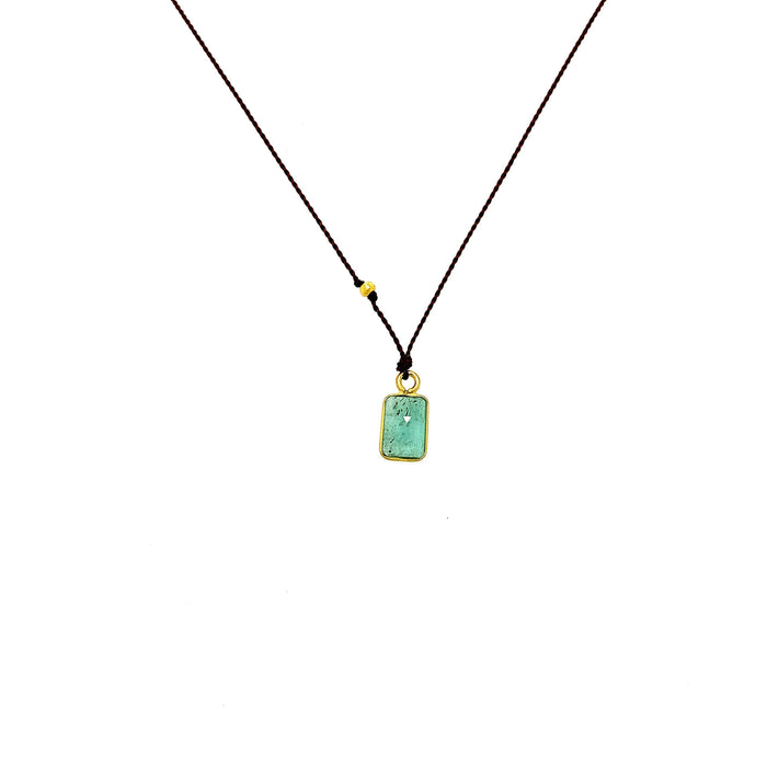 Emerald Baguette Silk Necklace