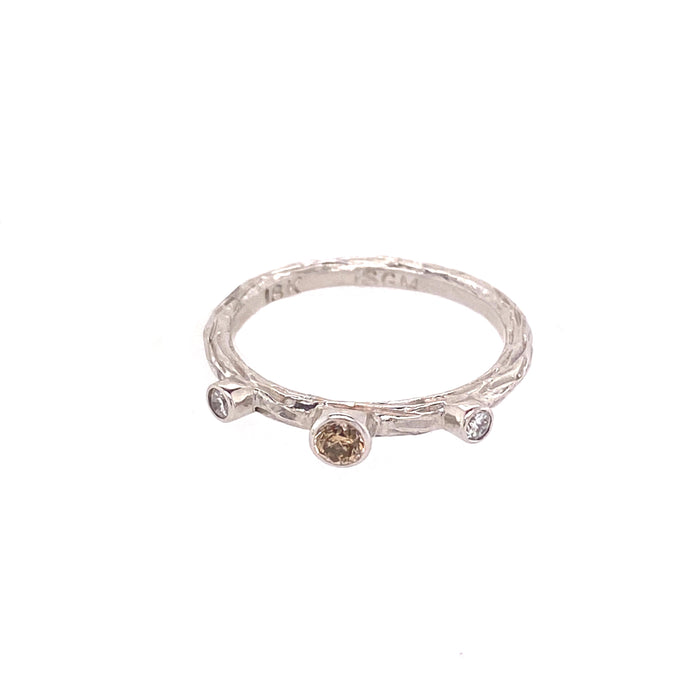White and Cognac Diamond Ring in White Gold
