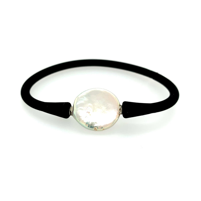 White Fresh Water Pearl Coin Rubber Bracelet