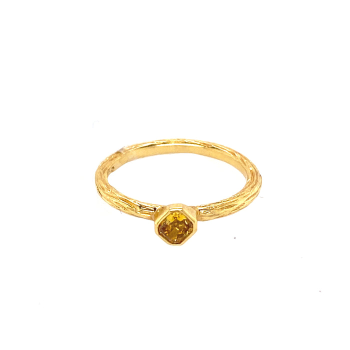 Cognac Diamond Pebble Stacker Ring in Yellow Gold