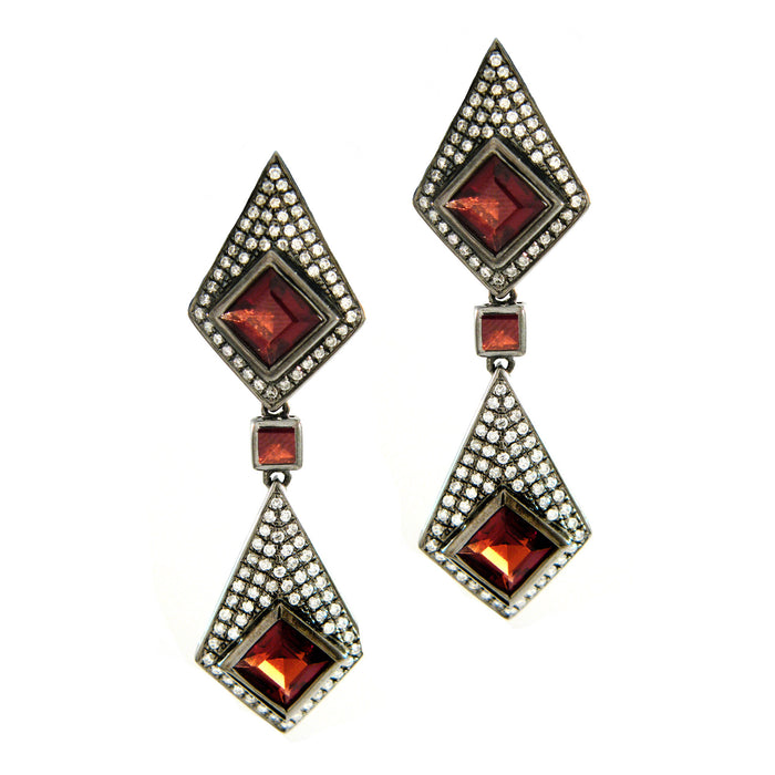 Garnet Dagger Drop Earrings