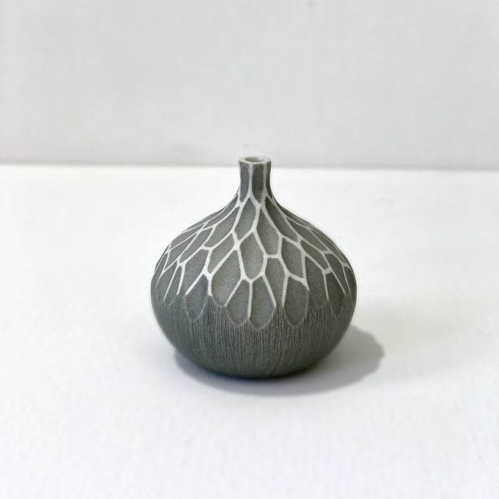 Congo Patterned Matte Gray Tiny Round Vase