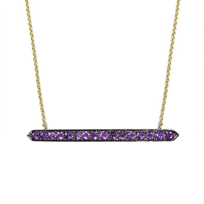Horizontal Amethyst Bar Necklace