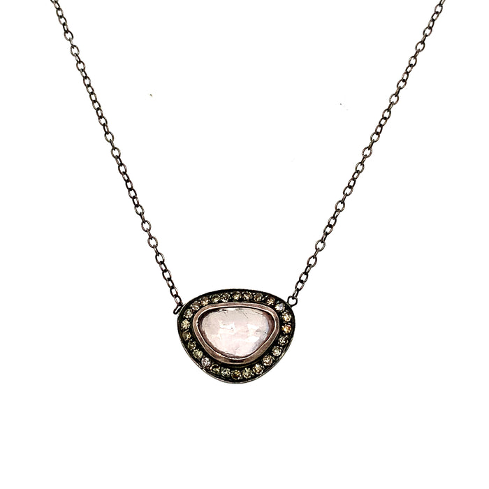 Pink Sapphire Brown Diamond Necklace in Blackened Silver