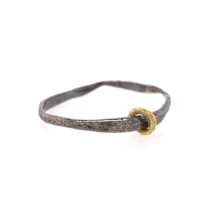 Weathered Bangle in Oxidized Sterling Silver with Yellow Gold Ring