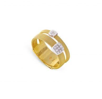 Masai Two Strands Ring with Diamonds in Yellow Gold