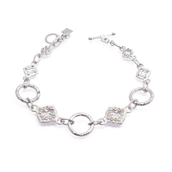 New World Sculpted Circle Link Bracelet with Champagne Diamonds in Sterling Silver