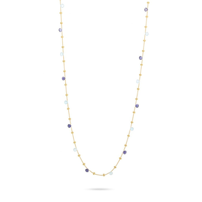 Paradise Iolite and Blue Topaz Long Necklace in Yellow Gold