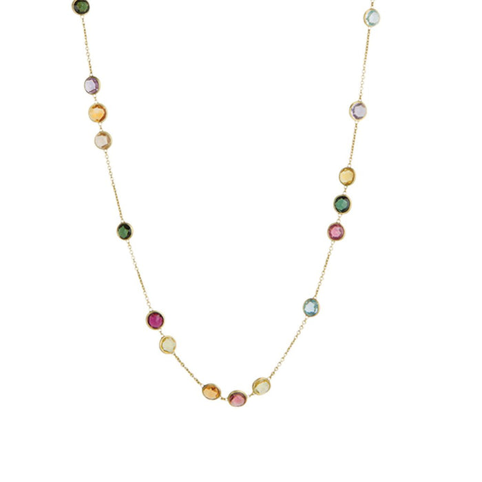 Jaipur Mixed Gemstones Small Bead Long Necklace in Yellow Gold