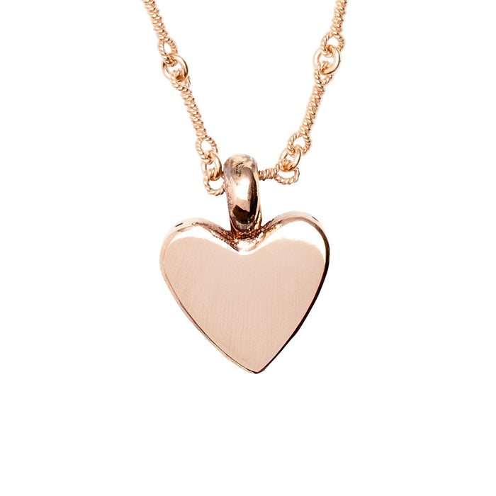 Small Heart Pendant Necklace in Rose Gold on Sailor Chain