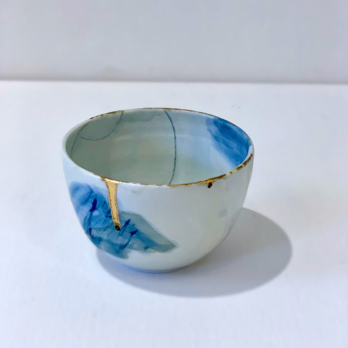One of a Kind Blue Watercolor and Gold Handcrafted Porcelain Teacup