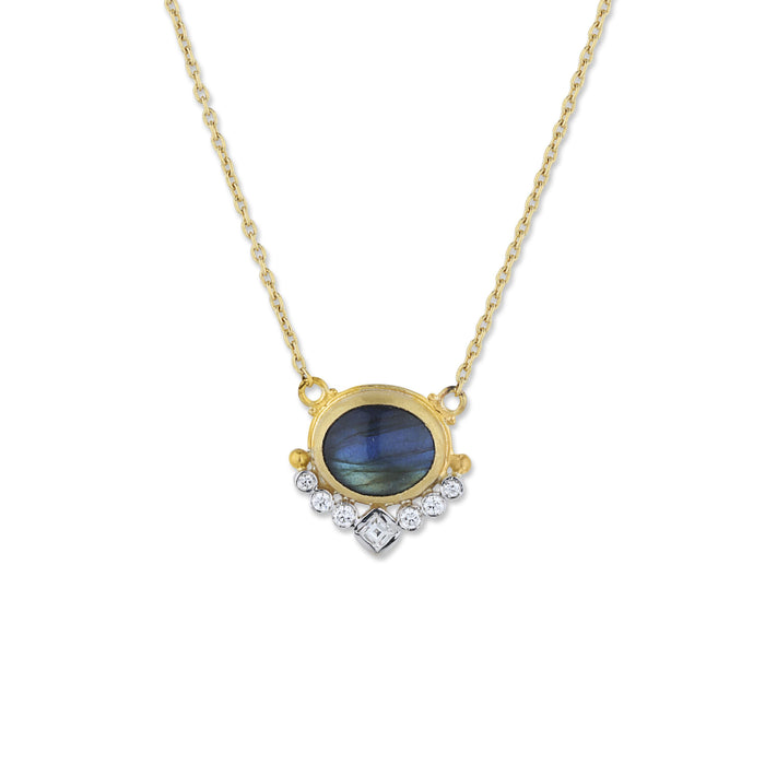 Oval Labradorite Diamond Necklace in Yellow Gold