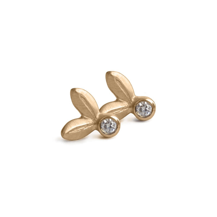 Olive Leaf Stud Earrings with Diamond in Yellow Gold