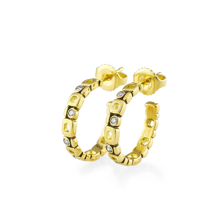 Diamond Micro Window Hoop Earrings in Yellow Gold