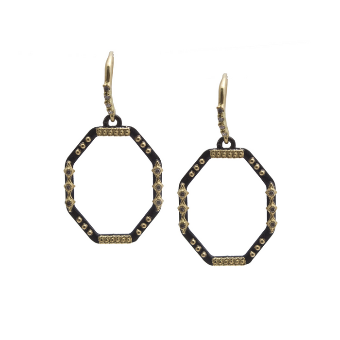 Old World Diamond Octagron Drop Earrings in Yellow Gold and Blackened Sterling Silver