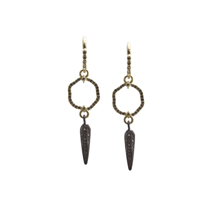 Old World Gold Crivelli Circle and Pave Spike Drop Earrings with Champagne Diamonds in Blackened Sterling Silver and Yellow Gold