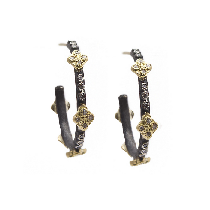 Old World Small Crivelli Cross Hoop Earrings With Diamonds in Blackened Sterling Silver and Yellow Gold