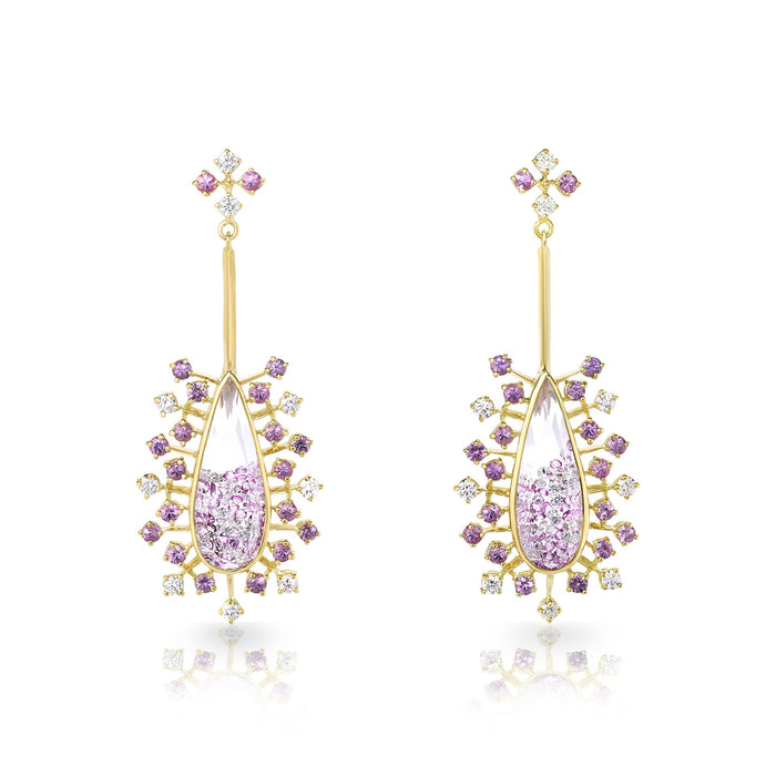 Pink Sapphire Snowflake Earrings in Yellow Gold