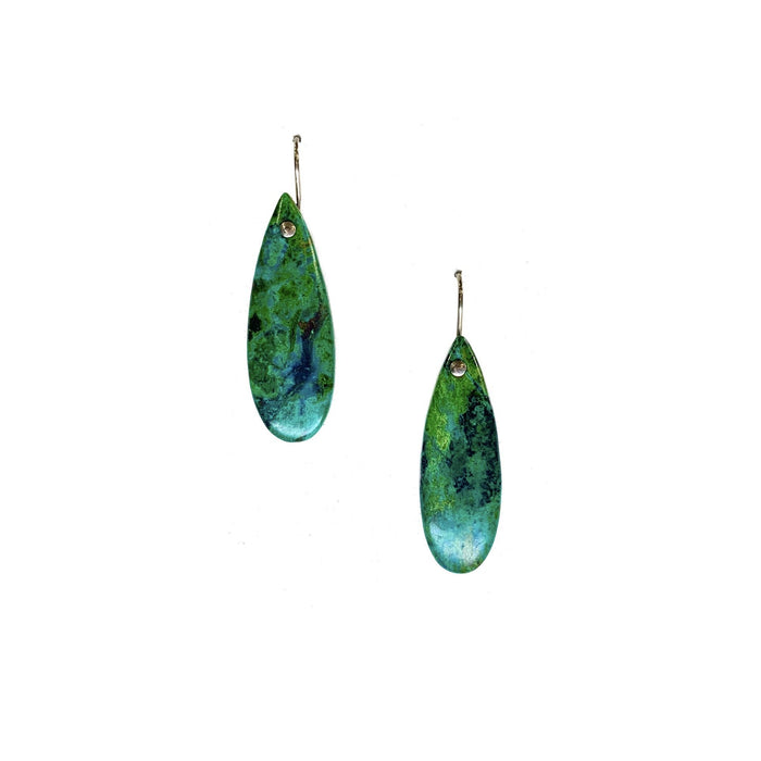 Drilled Chrysccolla Earrings in Sterling Silver