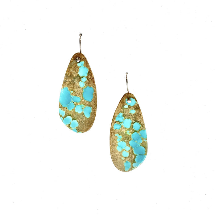 Drilled Turquoise Earrings in Sterling Silver