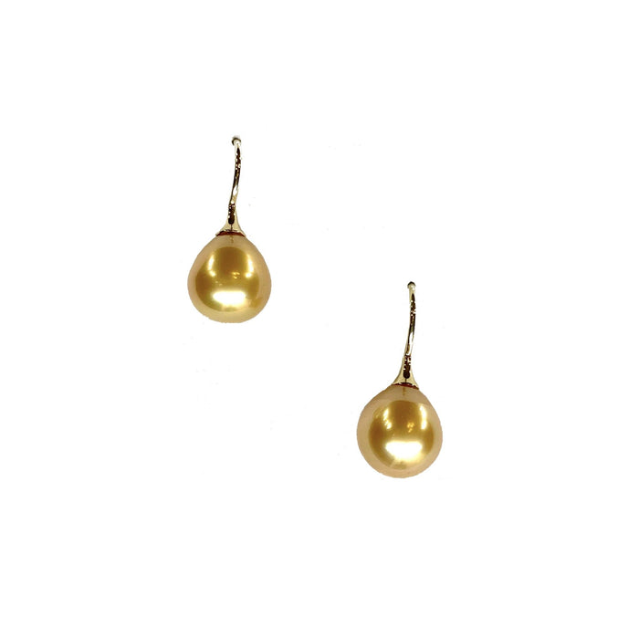 Golden South Sea Pearl Hook Earrings