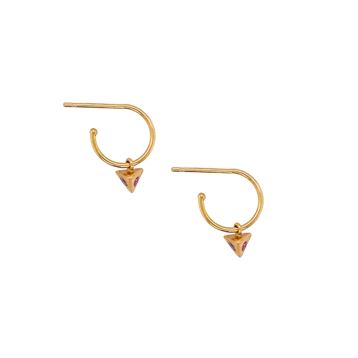 Pink Sapphire Piramide Hoop Earrings in Rose Gold