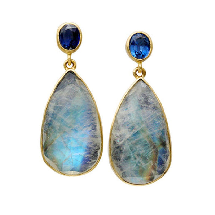 Moonstone and Kyanite Teardrop Earrings