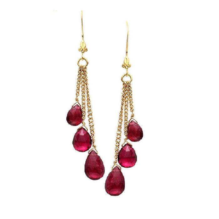 Triple Dangle Pink Tourmaline Drop Earrings
