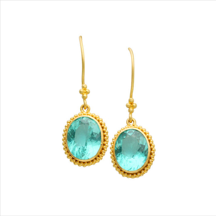 Apatite Drop Earrings in Yellow Gold