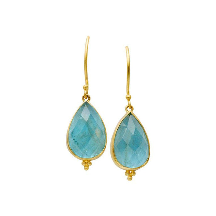 Aquamarine Drop Earrings in Yellow Gold