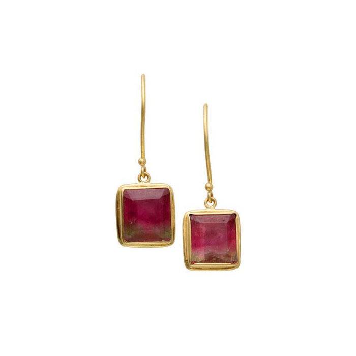 Tourmaline Drop Earrings in Yellow Gold