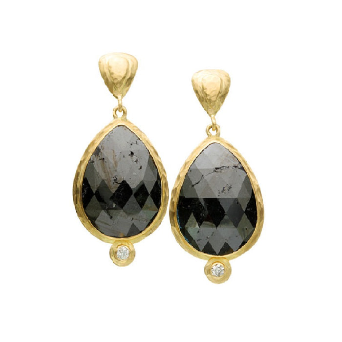 Large Black Diamond Teardrop Earrings