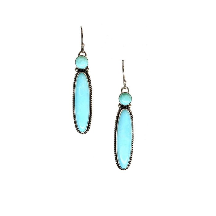 Bezel Set Long Turquoise Earrings in Sterling Silver