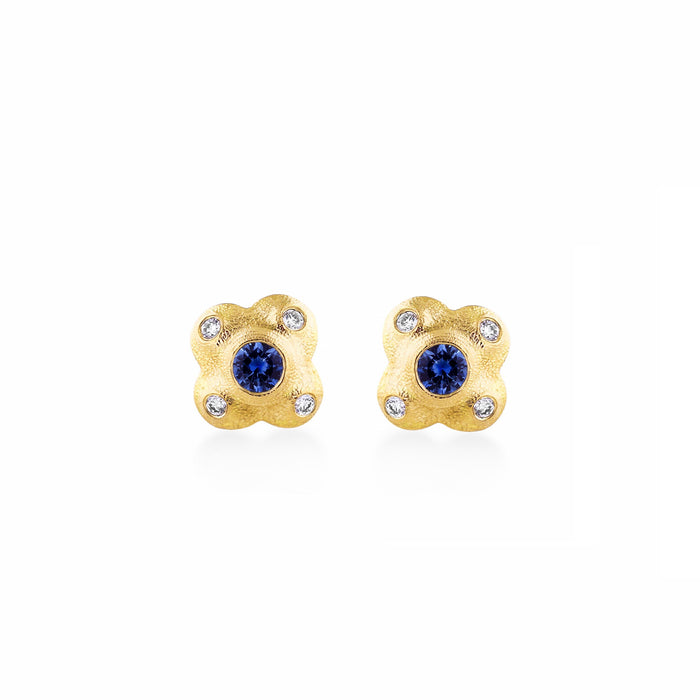 Sapphire and Diamond Flora Stud Earrings in Yellow Gold