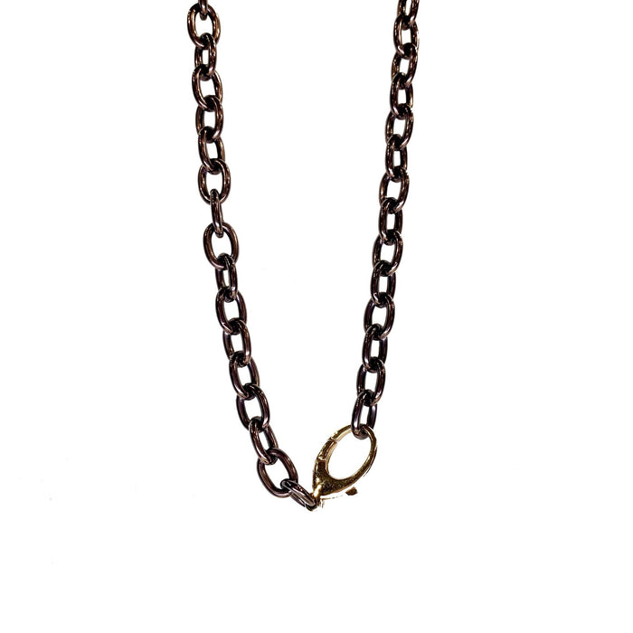 Heavy Cable Bronze Steel Chain with Yellow Gold Clasp