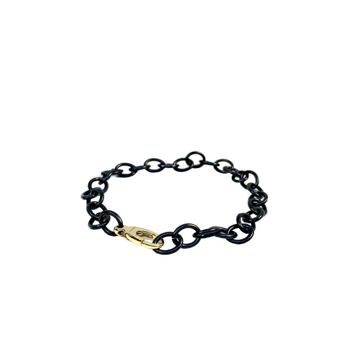 Cable Black Steel Sterling Silver Chain Bracelet with Yellow Gold Clasp