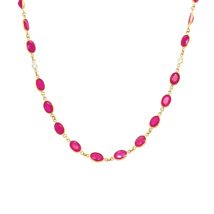 Oval Rubies and Diamond Necklace