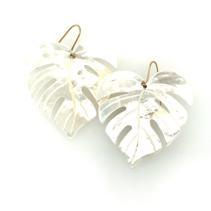 Carved Mother of Pearl Leaf Earrings