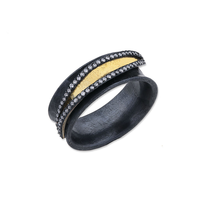 Diamond Inversion Ring in Oxidized and Yellow Gold