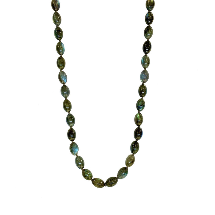 Labradorite Oval Necklace in Sterling Silver