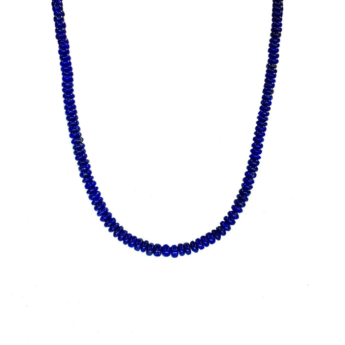 Graduated Lapis Rondel Necklace in Sterling Silver