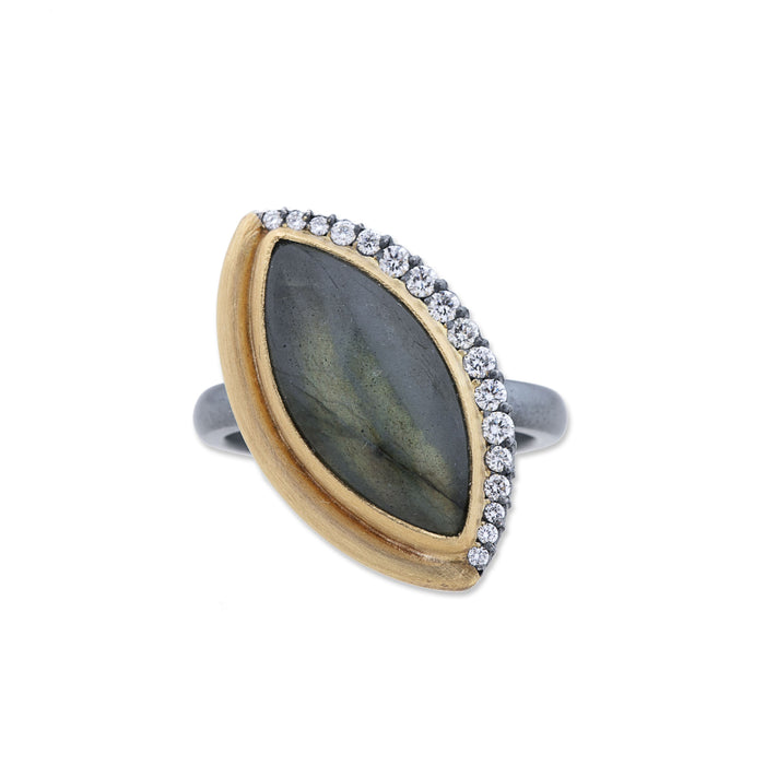 Marquise Labradorite Diamond Ring in Yellow Gold and Oxidized Sterling Silver