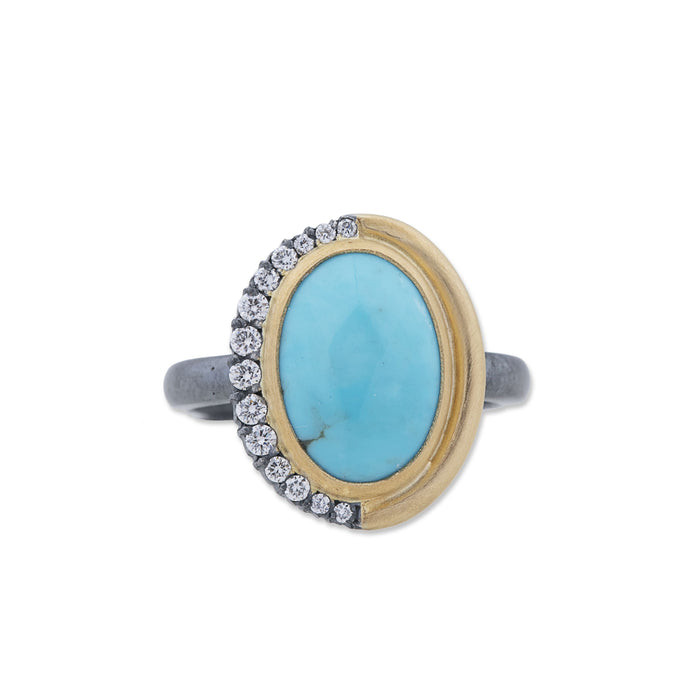 Oval Turquoise Diamond Ring in Yellow Gold and Oxidized Sterling Silver