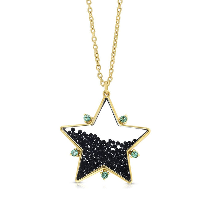 Black Spinel and Emerald Star Shaker Pendant