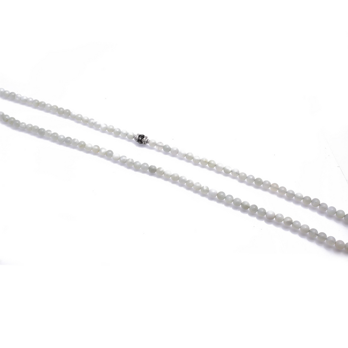 New World White Moonstone Bead Necklace in Sterling Silver