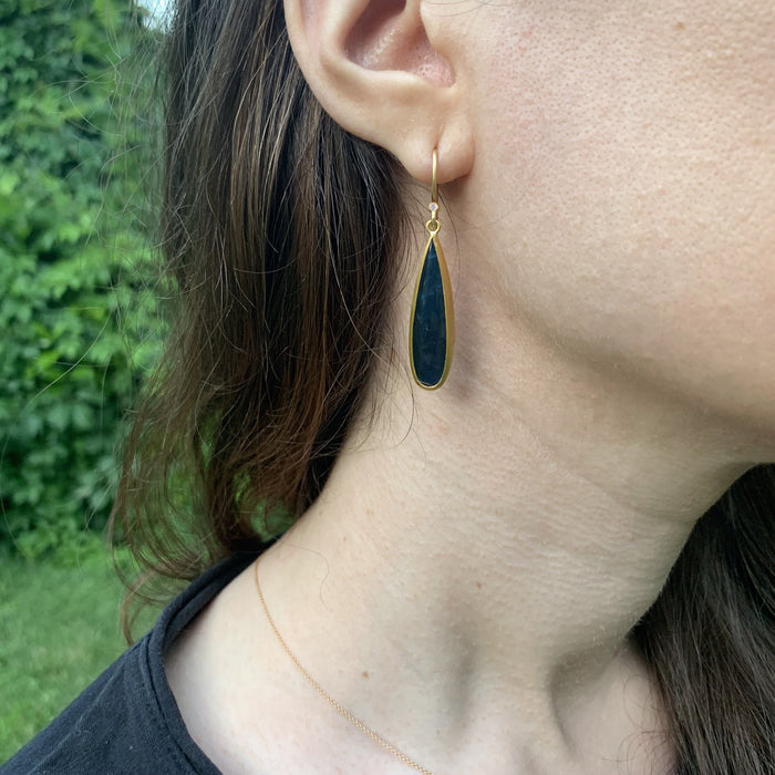 Labradorite and Onyx Doublet Long Pear Shape Drop Earrings with Diamond in Yellow Gold