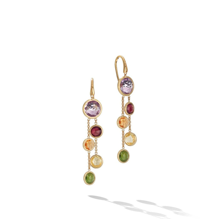 Jaipur Mixed Gemstone Two Strand Earrings in Yellow Gold