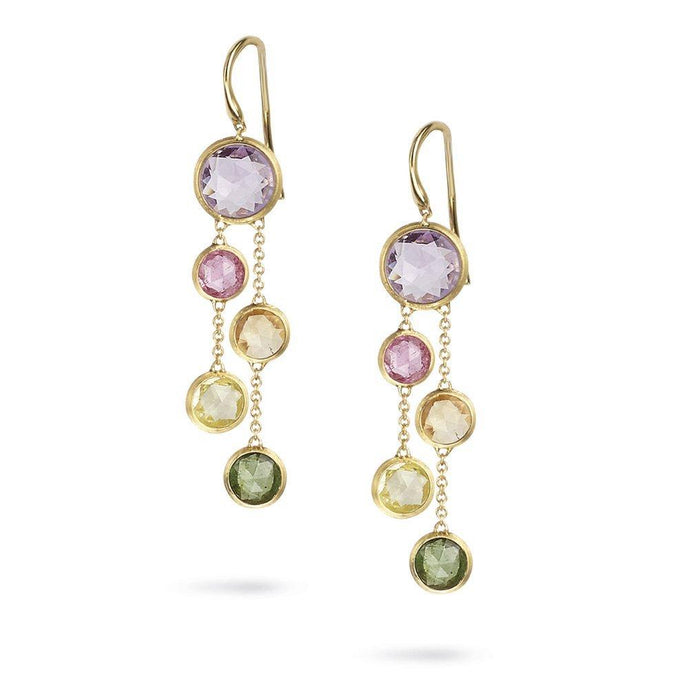 Jaipur Two Strand Earrings with Rose Cut Cushion Multi-Colored Semi-Precious Gemstones in Yellow Gold