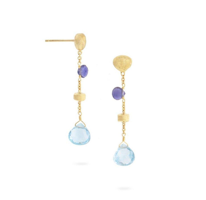 Paradise Iolite and Blue Topaz Short Drop Earrings in Yellow Gold